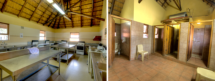 Hilltop Camp Accommodation Booking Rondavels communal kitchen ablution block Hluhluwe iMfolozi uMfolozi Game Reserve Game Park
