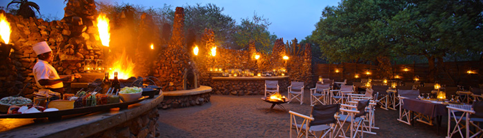 Phinda Mountain Lodge African Boma Dining BonFires Phinda Private Game Reserve Big 5 Luxury Lodge African Safari South Africa