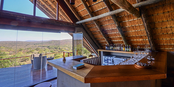Mavela Game Lodge Bar deck view Manyoni Private Game Reserve Zululand Rhino Reserve Luxury Tented Camp