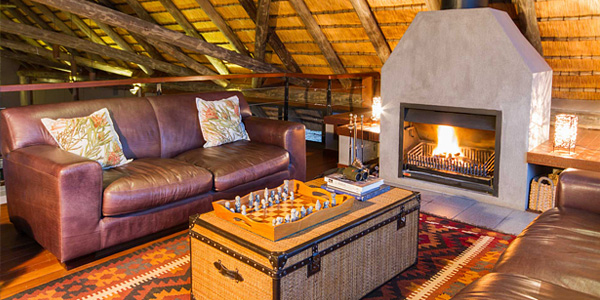 Mavela Game Lodge lounge fire place Manyoni Private Game Reserve Zululand Rhino Reserve Luxury Tented Camp