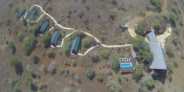 Mavela Game Lodge Aerial view Manyoni Private Game Reserve Zululand Rhino Reserve Luxury Tented Camp